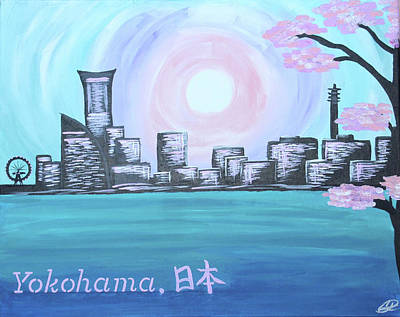 Skylines Painting - Yokohama Skyline by Cyrionna The Cyerial Artist