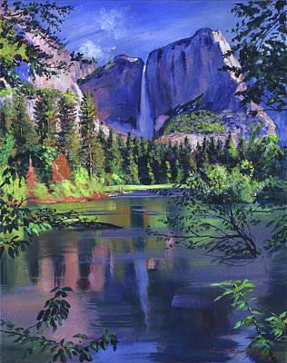 Waterfalls Painting - Yosemite Falls by David Lloyd Glover