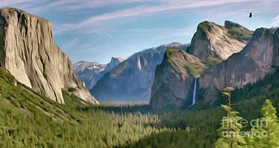 Digital Art - Yosemite Falls by Walter Colvin