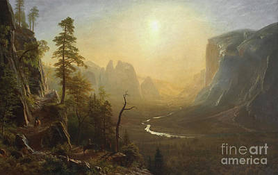 Mountain Painting - Yosemite Valley, Glacier Point Trail by Albert Bierstadt