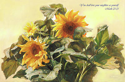 Sunflowers Wall Art - Painting - You Shall Love Your Neighbor As Yourself  by Svitozar Nenyuk