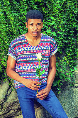 Photograph - Young African American Man Missing You With White Rose, Thinking by Alexander Image