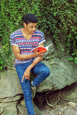 Photograph - Young African American Man Reading Book, Traveling, Relaxing At  by Alexander Image