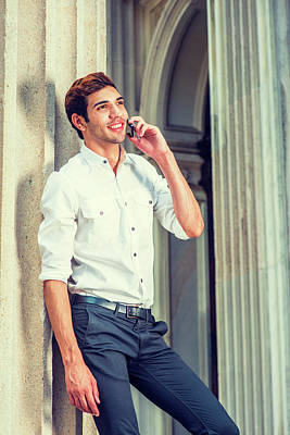 Photograph - Young American Businessman Calling Outside In New York by Alexander Image