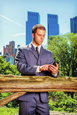 Photograph - Young American Businessman Texting On Cell Phone, Traveling, Wor by Alexander Image