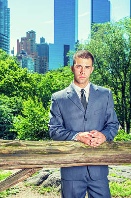 Photograph - Young American Businessman Traveling, Working In New York, Takin by Alexander Image