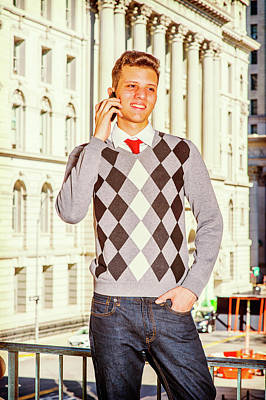 Photograph - Young American Man Calling Outside In New York by Alexander Image