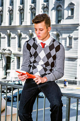 Photograph - Young American Man Reading Outside In New York by Alexander Image