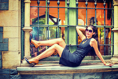Photograph - Young American Woman Relaxing Outside In Summer by Alexander Image