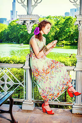 Photograph - Young American Woman Texting On Cell Phone, Traveling, Relaxing  by Alexander Image