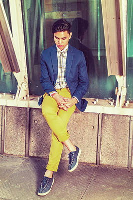Photograph - Young Asian American Man Thinking Outside In New York by Alexander Image