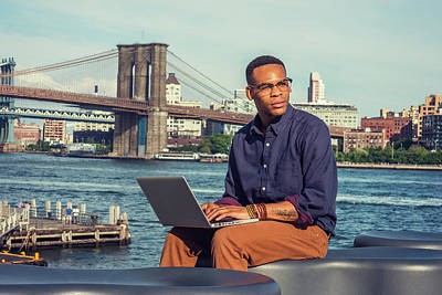 Photograph - Young Businessman Traveling, Working In New York 15082341 by Alexander Image