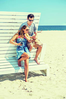 Photograph - Young Couple Traveling, Relaxing On The Beach In New Jersey, Usa by Alexander Image