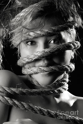 Young Expressive Woman Tied In Ropes Art Print by Oleksiy Maksymenko