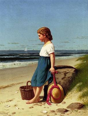 Young Painting - Young Girl At The Seashore by MotionAge Designs