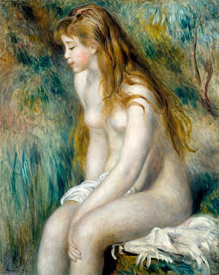 Outdoor Nude Painting - Young Girl Bathing by Pierre-Auguste Renoir