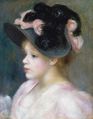 Painting - Young Girl In A Pink-and-black Hat by Auguste Renoir