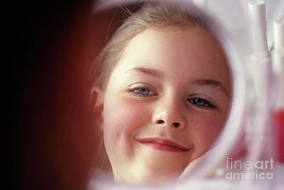 Photograph - Young Girl Smiling In Mirror by Jim Corwin