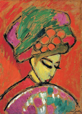 Young Girl With A Flowered Hat Art Print by Alexej von Jawlensky