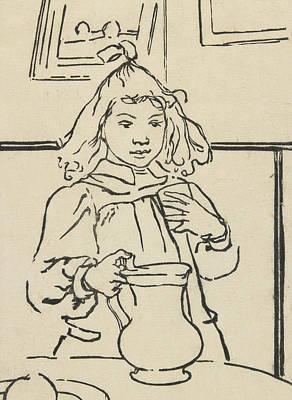 Interior Scene Drawing - Young Girl With A Pitcher by Auguste Lepere