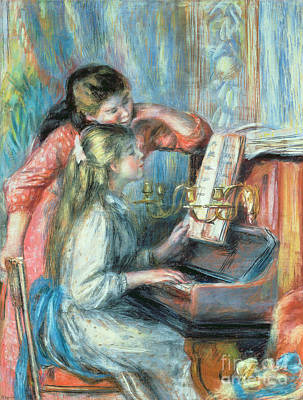 Piano Painting - Young Girls At The Piano by Pierre Auguste Renoir