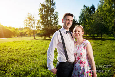 Valentine Photograph - Young Happy Couple In Love Portrait In Summer Park by Michal Bednarek