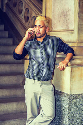 Photograph - Young Hispanic American Man Talking On Cell Phone Outside by Alexander Image