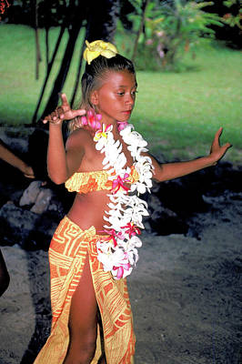 Photograph - Young Hula Dancer In Hawaii by Carl Purcell