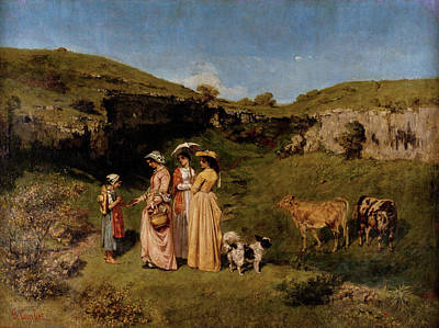 Cow Painting - Young Ladies Of The Village by Gustave Courbet