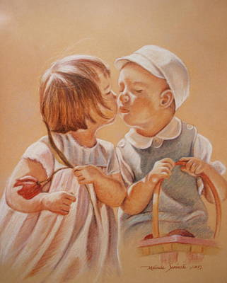 Art Print featuring the painting Young Love  by Melinda Saminski