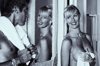 Photograph - Young Man Fooling Around With Older Woman In The Bathroom by Amyn Nasser