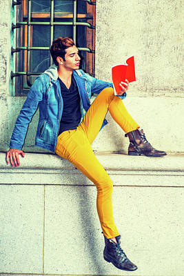 Photograph - Young Man Reading Red Book, Sitting On Street by Alexander Image