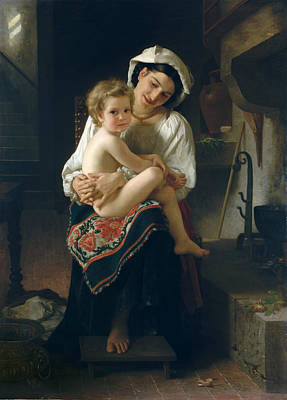 Painting - Young Mother Gazing At Her Child by William-Adolphe Bouguereau