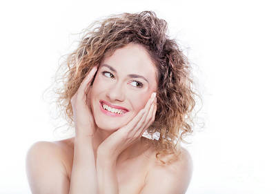Head Photograph - Young Smiling Woman With Curly Hair Portrait On White by Michal Bednarek