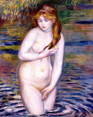 Outdoor Nude Painting - Young Woman Bathing by Pierre-Auguste Renoir