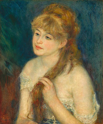 Young Woman Braiding Her Hair Renoir Painting - Young Woman Braiding Her Hair by Pierre-Auguste Renoir