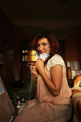 Artist Process Painting - Young Woman Painting With Airbrush Equipment by Jozef Klopacka