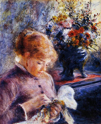 Sewing Painting - Young Woman Sewing by Pierre-Auguste Renoir