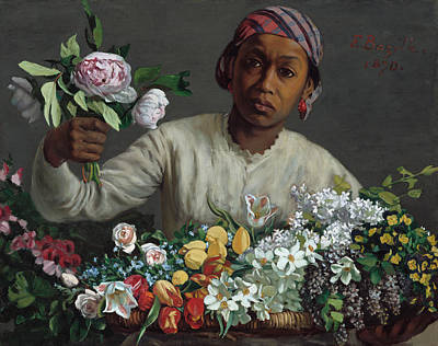 Young Woman With Peonies Art Print