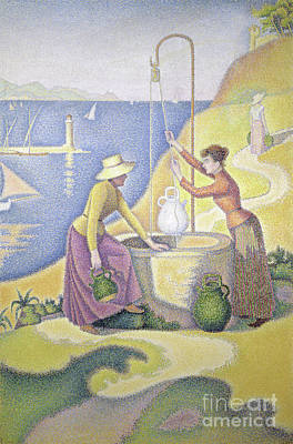 Young Women Of Provence At The Well, 1892 Art Print by Paul Signac