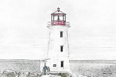 Etching Mixed Media - You're My Beacon Peggy's Cove Lighthouse by Betsy Knapp