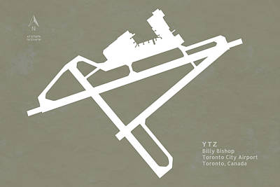 Toronto Digital Art - Ytz Billy Bishop Toronto City Airport In Toronto Canada Runway S by Jurq Studio