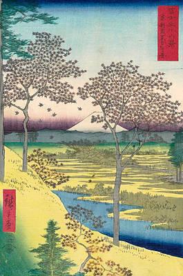 Asia Painting - Yuhigaoka At Meguro In Edo by Utagawa Hiroshige