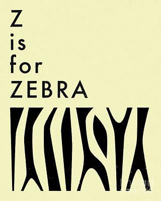 Zebra Digital Art - Z Is For Zebra - 2 by Jazzberry Blue