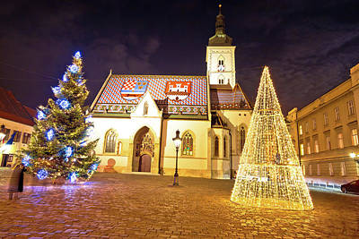 Photograph - Zagreb Government Square Advent Evening View by Brch Photography