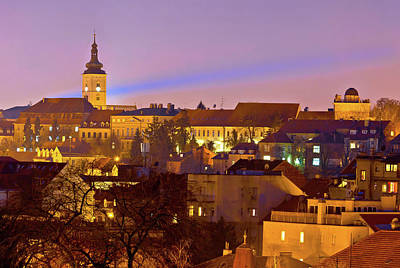 Photograph - Zagreb Historic Upper Town Night View by Brch Photography