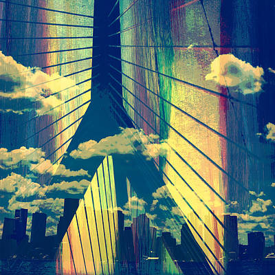 Zakim Bridge Boston V4 Art Print by Brandi Fitzgerald