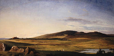 Painting - Zealand Landscape. View From Bjerreso Mark Towards Vejrhoj And Dragsholm Manor by Johan Thomas Lundbye