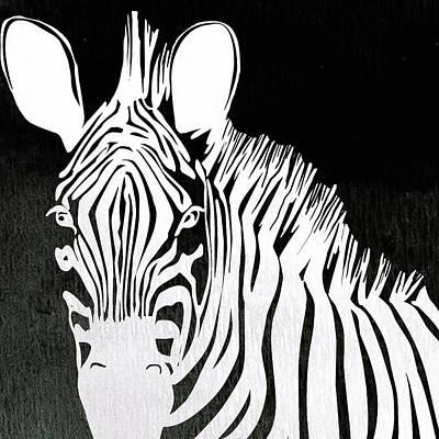 Animal Digital Art - Zebra Animal Black And White Decorative Poster 4 - By  Diana Van by Diana Van