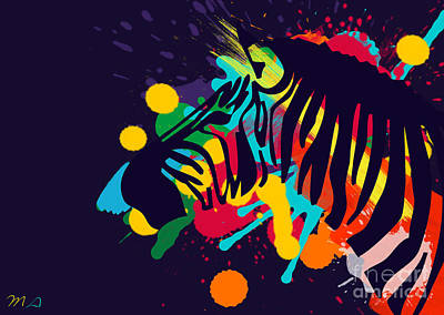Abstract Wildlife Painting - Zebra by Mark Ashkenazi